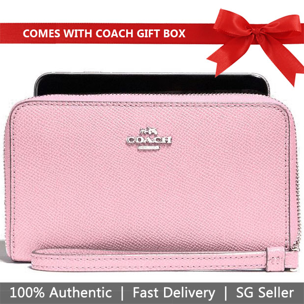 Coach Wallet Wristlet In Gift Box Phone Wallet In Crossgrain Leather Blush Pink # F58053
