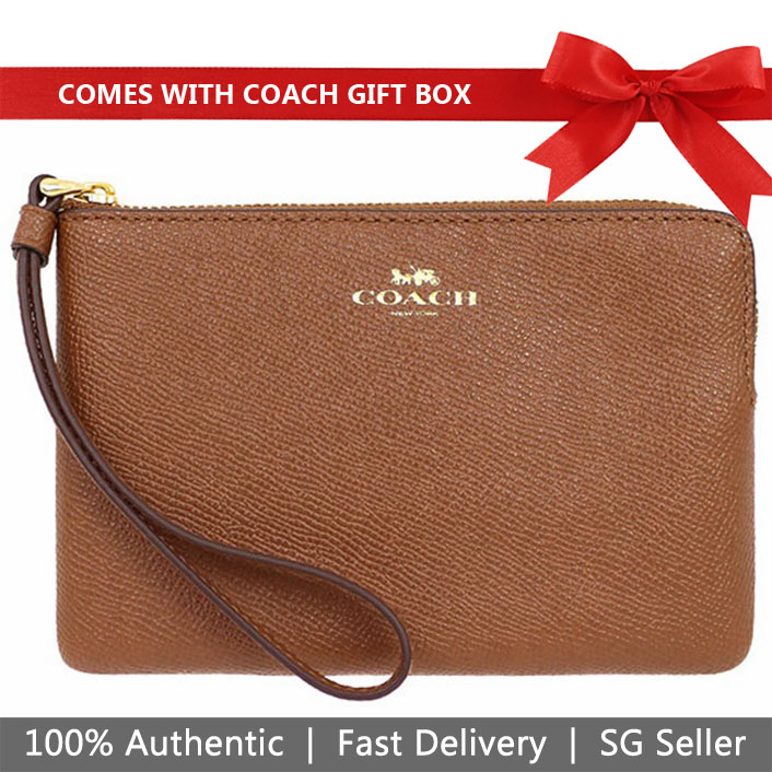 Coach Wristlet In Gift Box Corner Zip Wristlet In Crossgrain Leather Saddle Brown # F58032