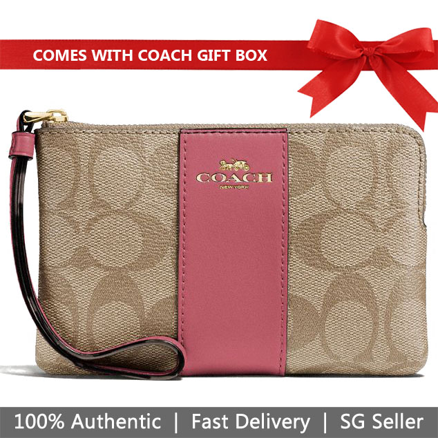 Coach Wristlet In Gift Box Corner Zip Wristlet In Signature Coated Canvas With Leather Stripe Light Khaki / Rouge # F58035