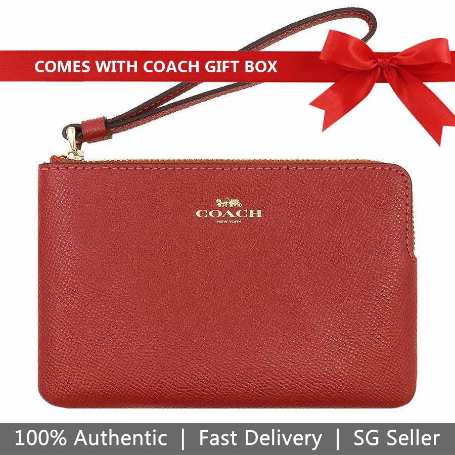 Coach Wristlet In Gift Box Corner Zip Wristlet Leather Washed Red # F58032