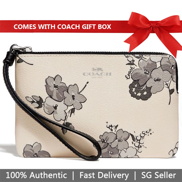 Coach Wristlet In Gift Box Corner Zip Wristlet With Fairy Tale Print Small Wristlet Chalk White # F73637
