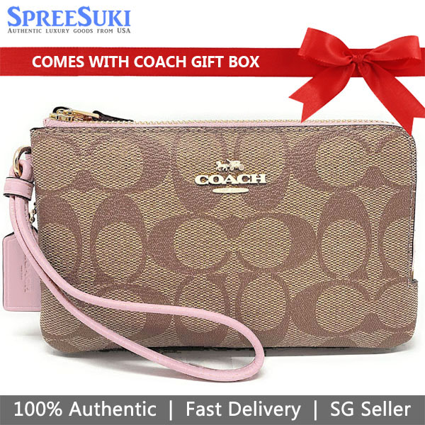 Coach Wristlet In Gift Box Double Corner Zip Wallet In Signature Coated Canvas Khaki / Blossom Pink # F87591