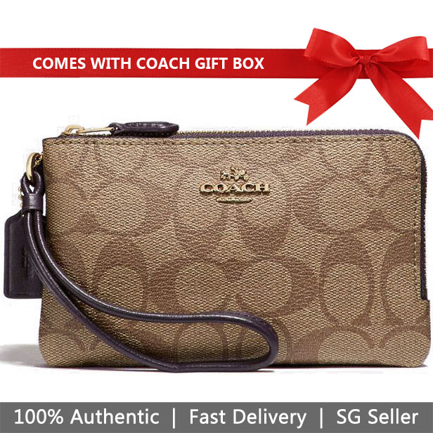 Coach Wristlet In Gift Box Double Corner Zip Wallet In Signature Coated Canvas Khaki / Oxblood # F87591
