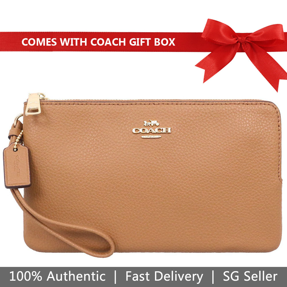 Coach Wristlet In Gift Box Double Zip Wallet In Polished Pebble Leather Large Wristlet Light Saddle Brown # F87587