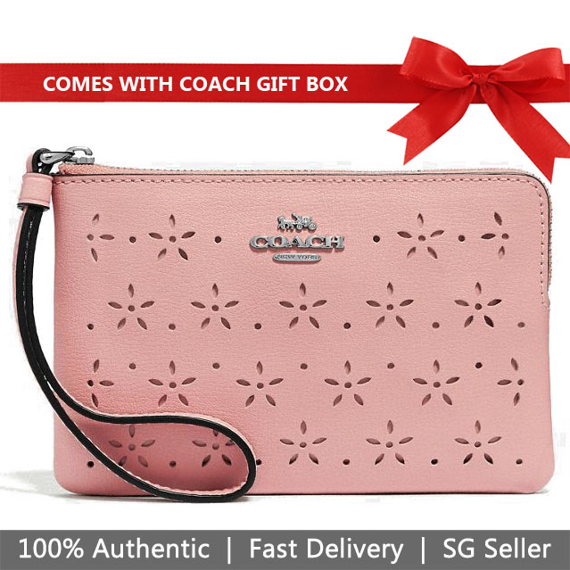 Coach Wristlet In Gift Box Floral Perforated Corner Zip Wristlet Small Wristlet Petal Pink / Strawberry # F67608