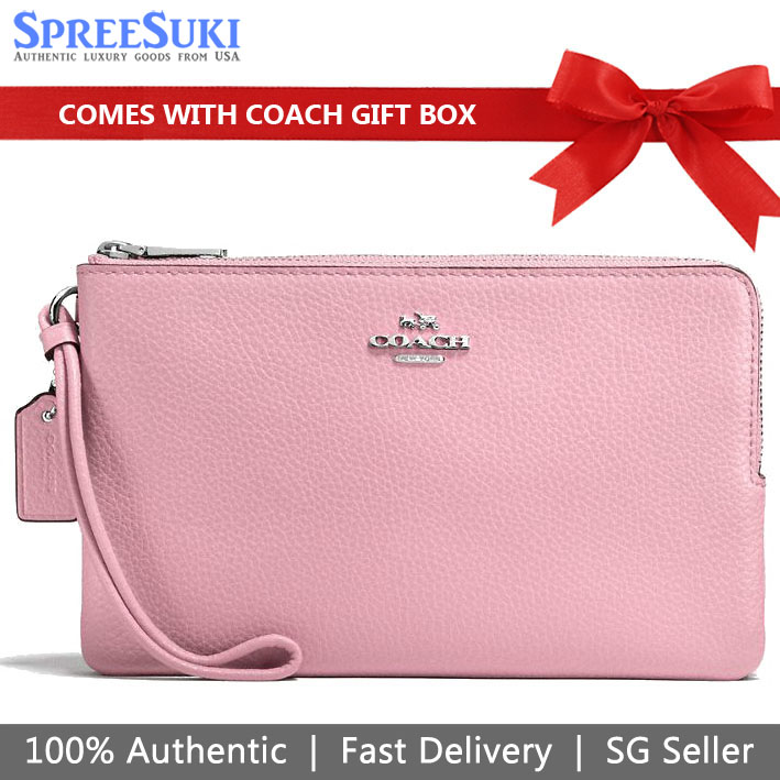 Coach Wristlet In Gift Box Large Double Zip Wallet In Polished Pebble Leather Large Wristlet Petal Pink # F87587