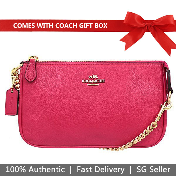 Coach Wristlet In Gift Box Large Wristlet 19 In Pebble Leather Bright Pink # F53340