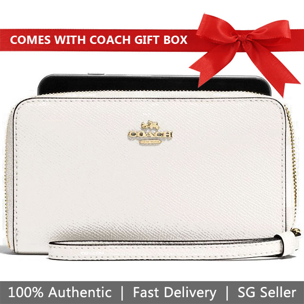 Coach Wristlet In Gift Box Phone Wallet In Crossgrain Leather Wristlet Chalk White # F58053