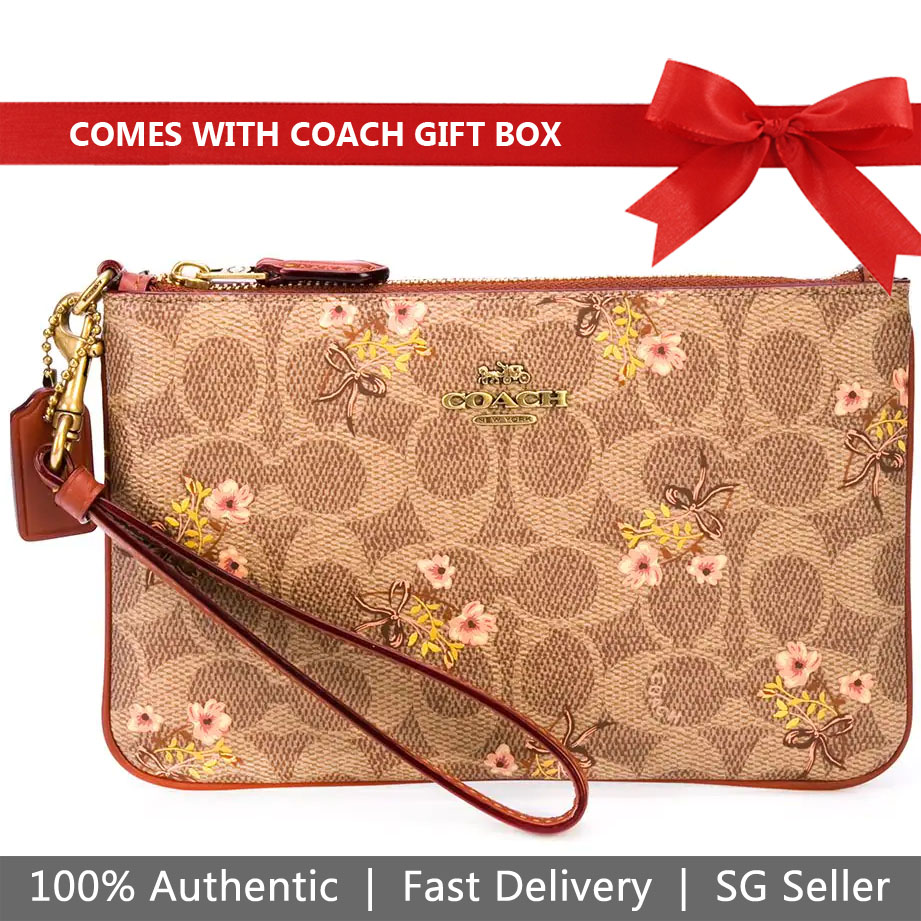 Coach Wristlet In Gift Box Prairie Coated Canvas Signature Wristlet Tan Brown Floral # 67070