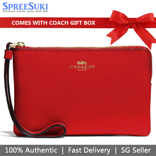 Coach Wristlet In Gift Box Small Wristlet Corner Zip Wristlet In Crossgrain Leather Bright Red # F58032