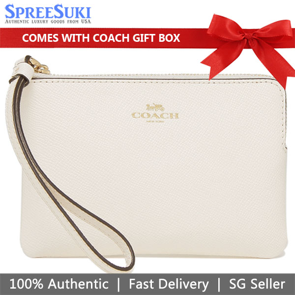 Coach Wristlet In Gift Box Small Wristlet Corner Zip Wristlet In Crossgrain Leather Chalk Off White # F58032