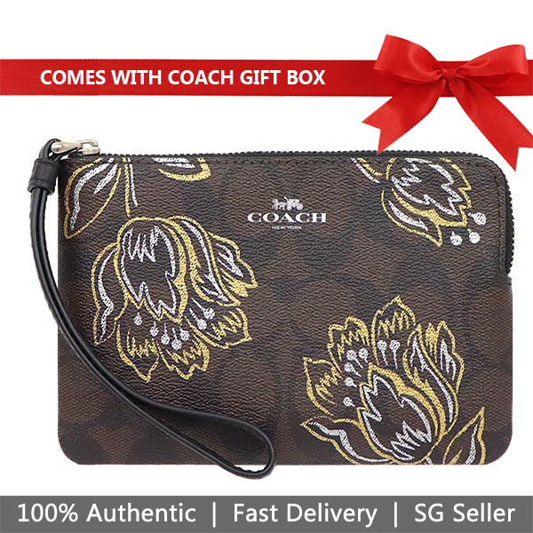 Coach Wristlet In Gift Box Small Wristlet Corner Zip Wristlet In Signature Canvas With Tulip Print Brown Chestnut Metallic # F78095