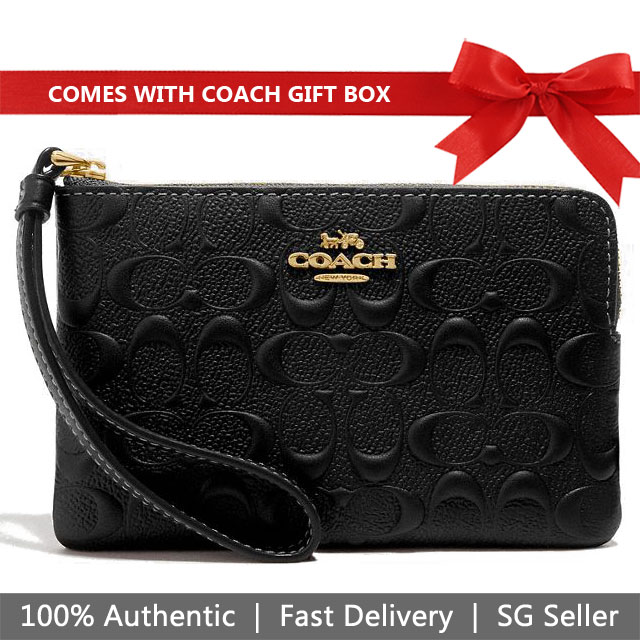 Coach Wristlet In Gift Box Small Wristlet Corner Zip Wristlet In Signature Leather Black # F67555