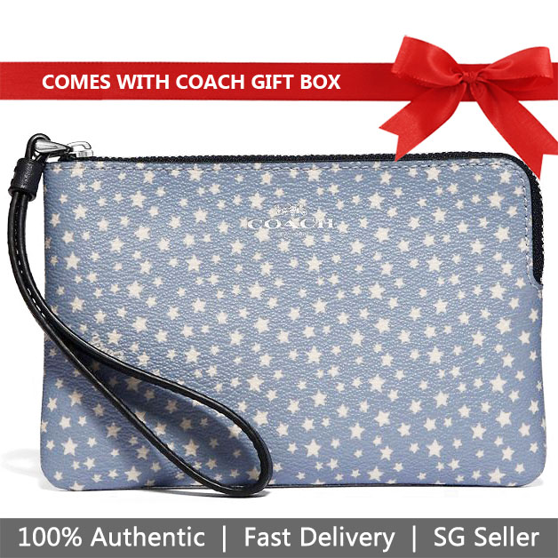 Coach Wristlet In Gift Box Small Wristlet Corner Zip Wristlet With Ditsy Star Print Blue / Silver # F67613