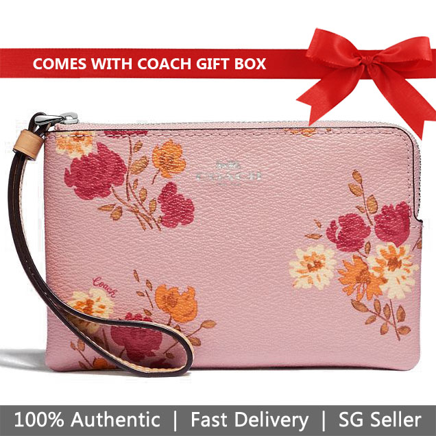 Coach Wristlet In Gift Box Small Wristlet Corner Zip Wristlet With Painted Peony Print Carnation Pink # F73348