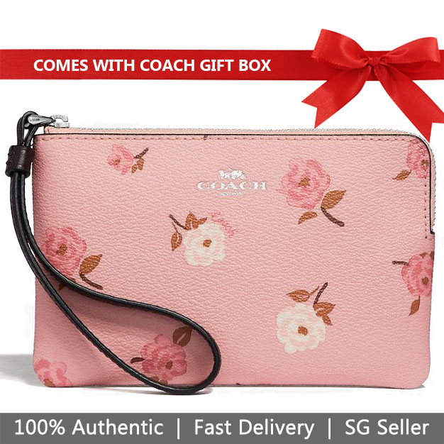 Coach Wristlet In Gift Box Small Wristlet Corner Zip Wristlet With Tossed Peony Print Small Wristlet Petal Pink Multi # F67528