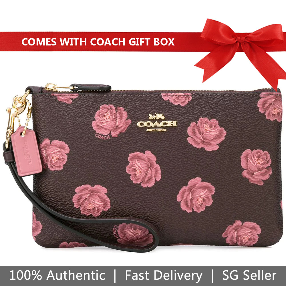 Coach Wristlet In Gift Box Small Wristlet With Rose Print Oxblood Rose # 31827