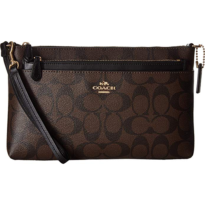 Coach Wristlet In Pop Up Pouch In Signature Gold / Brown / Black # F65806