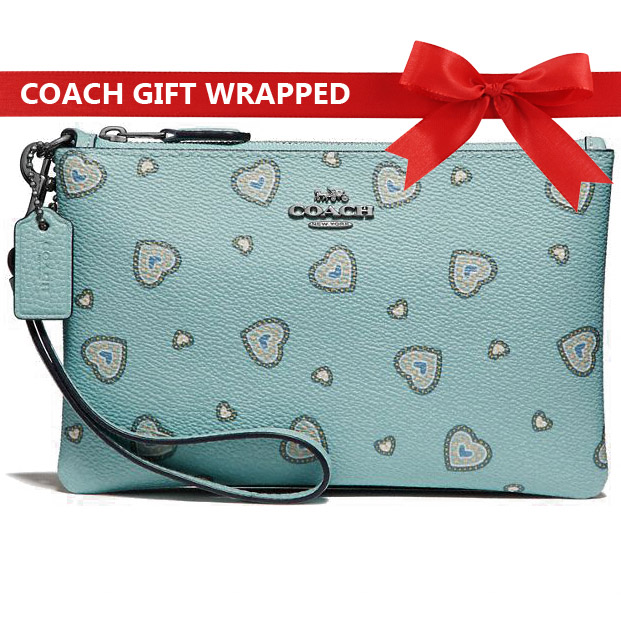 Coach Wristlet With Western Heart Print Light Turquoise Blue # 29667