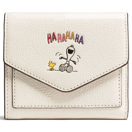 Coach X Peanuts Snoopy Woodstock Leather Small Wallet Collector's Edition Chalk White # 16121B