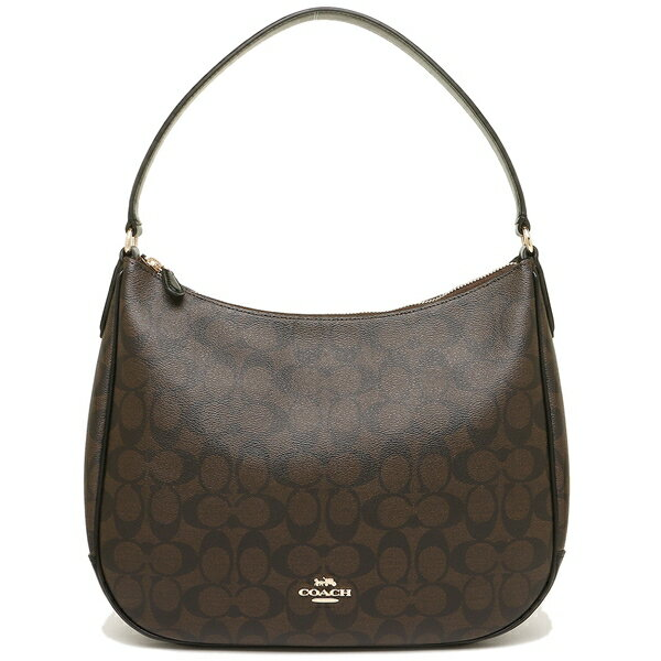 Coach Zip Shoulder Bag In Signature Canvas Brown / Black / Gold # F29209