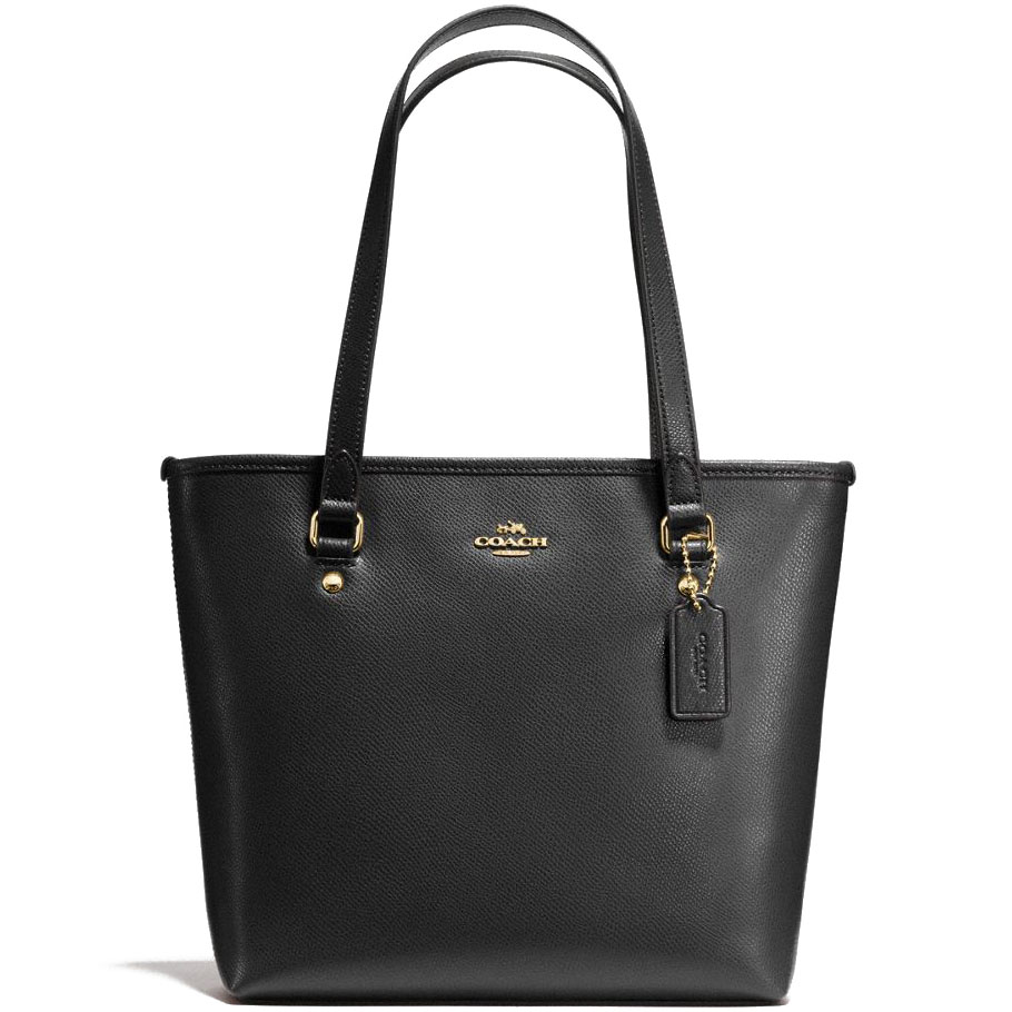 Coach Zip Top Tote In Crossgrain Leather Shoulder Bag Gold / Black # F57789