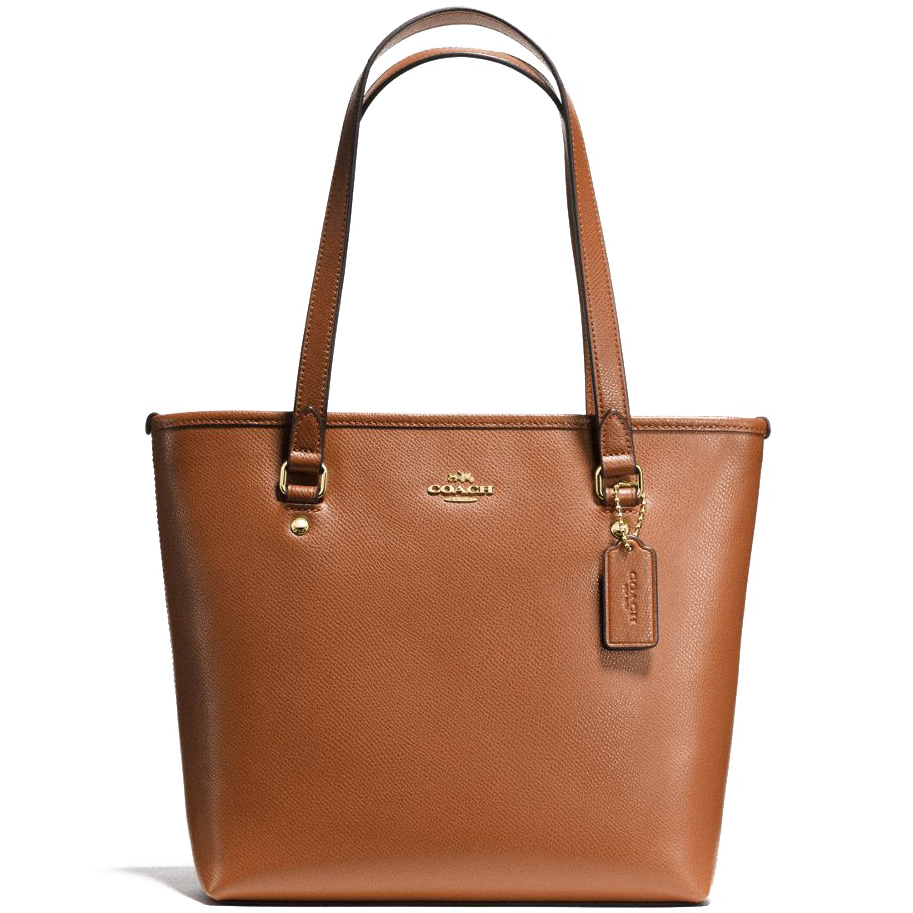 Coach Zip Top Tote In Crossgrain Leather Shoulder Bag Saddle Brown # F57789