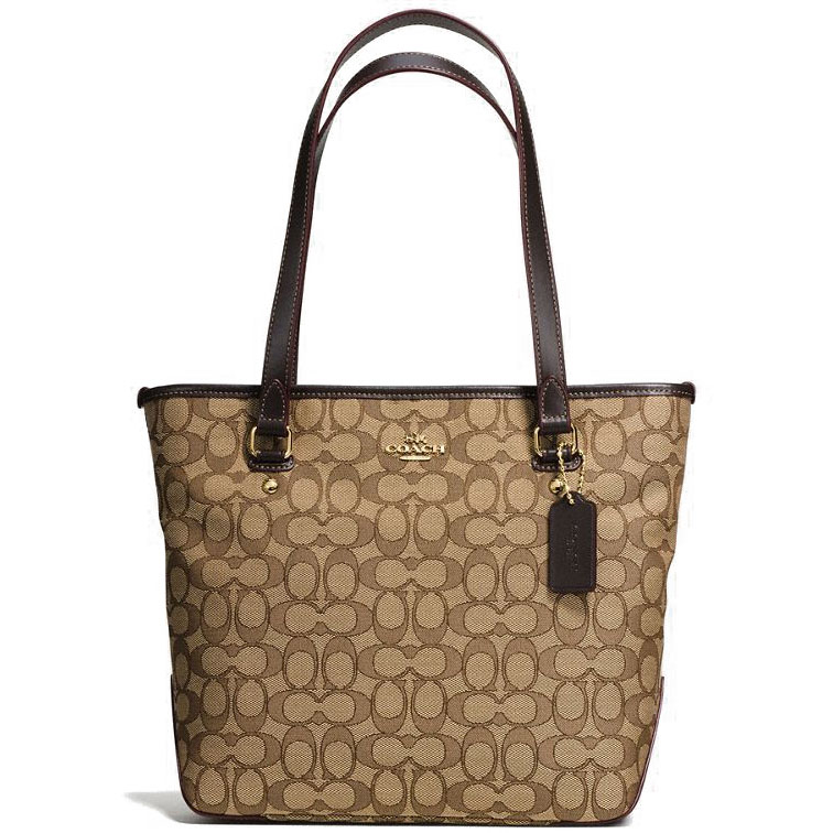 Coach Zip Top Tote In Outline Signature Khaki / Brown # F58282
