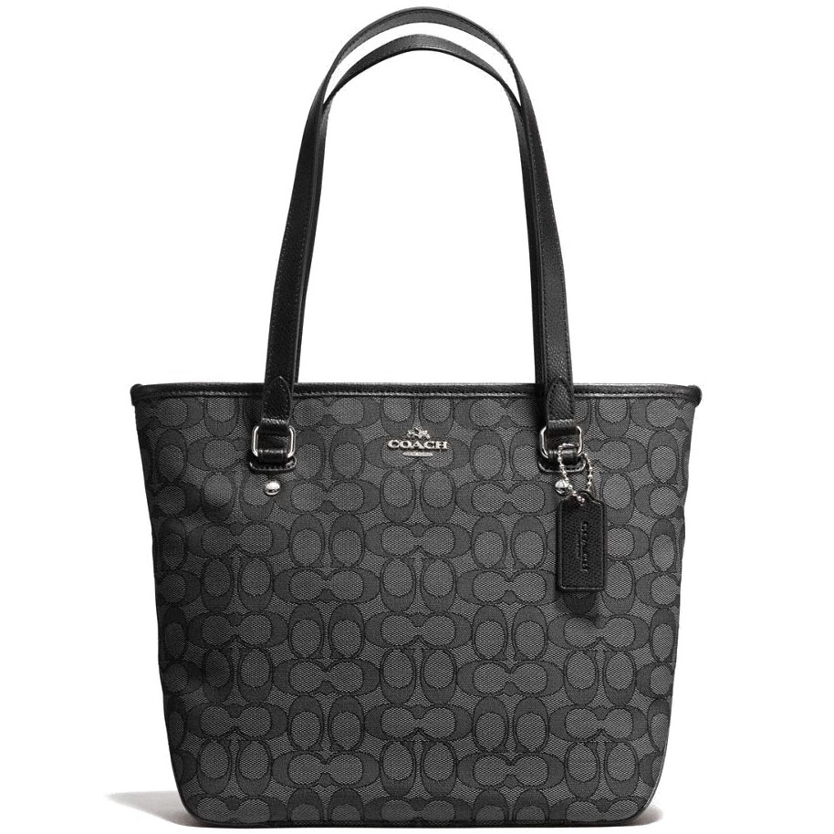 Coach Zip Top Tote In Outline Signature Silver / Black Smoke / Black # F58282