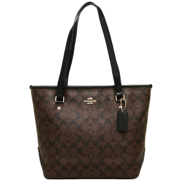 Coach Zip Top Tote In Signature Shoulder Bag Gold / Brown / Black # F58294