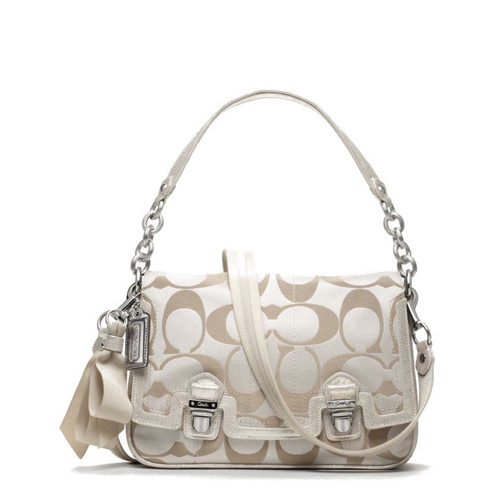 Coach Poppy Signature Sateen Pushlock Flap Bag # F18357