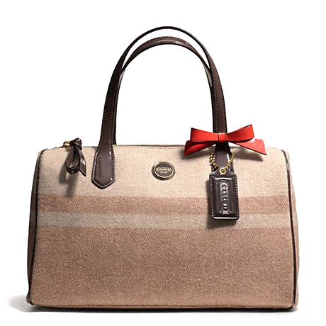 Coach Signature Stripe Wool Stripe Satchel # F24784