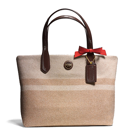 Coach Signature Stripe Wool Stripe Lunch Tote # F24786