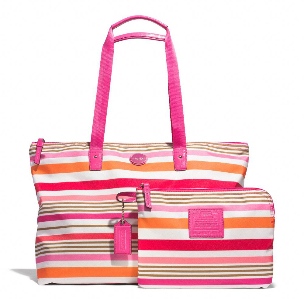 Getaway Multicolor Striped Weekender Travel Tote Pink / Multicolor # F31964