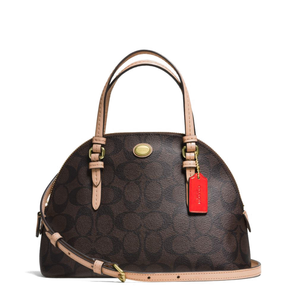 Peyton Mini Signature Cora Domed Satchel Brown Tan