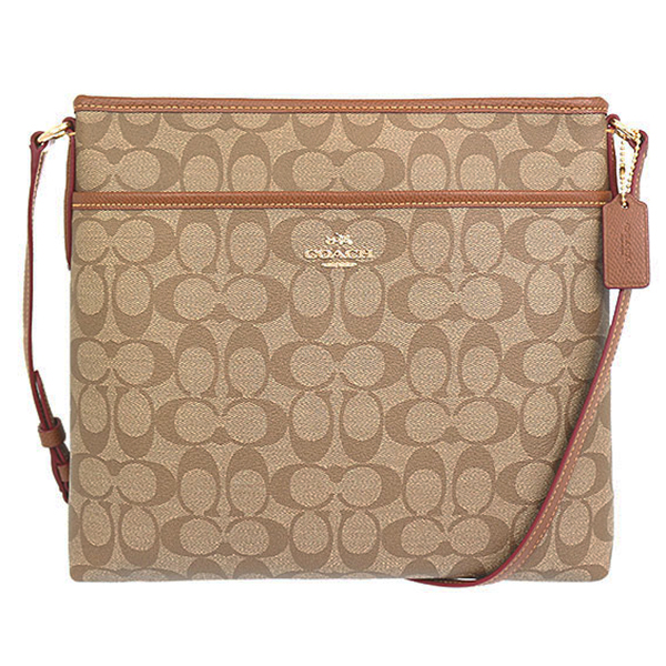Coach Signature File Bag Crossbody Khaki / Saddle # F34938