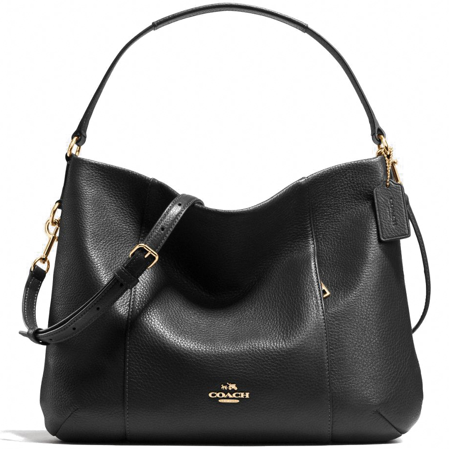 Coach Pebble Leather East West Isabelle Crossbody Shoulder Bag Black # F35809