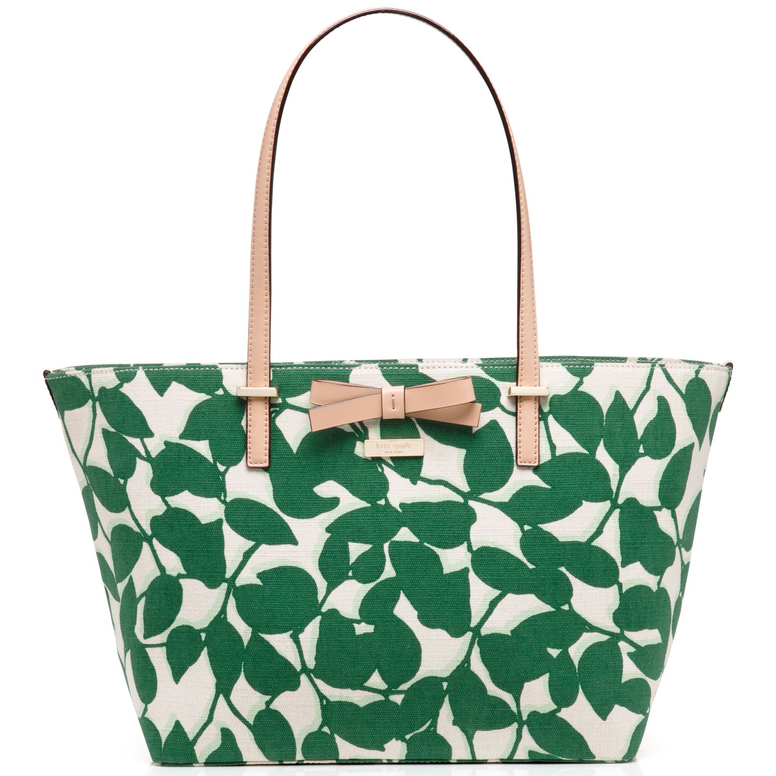 Kate Spade South Poplar Street Francis Tote Handbag Lucky Green Garden Leaves # WKRU3145
