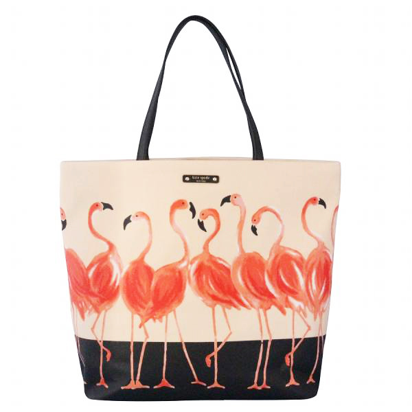 Kate Spade Take A Walk On The Wild Side Bon Shopper Flamingo Cream / Black # WKRU3833