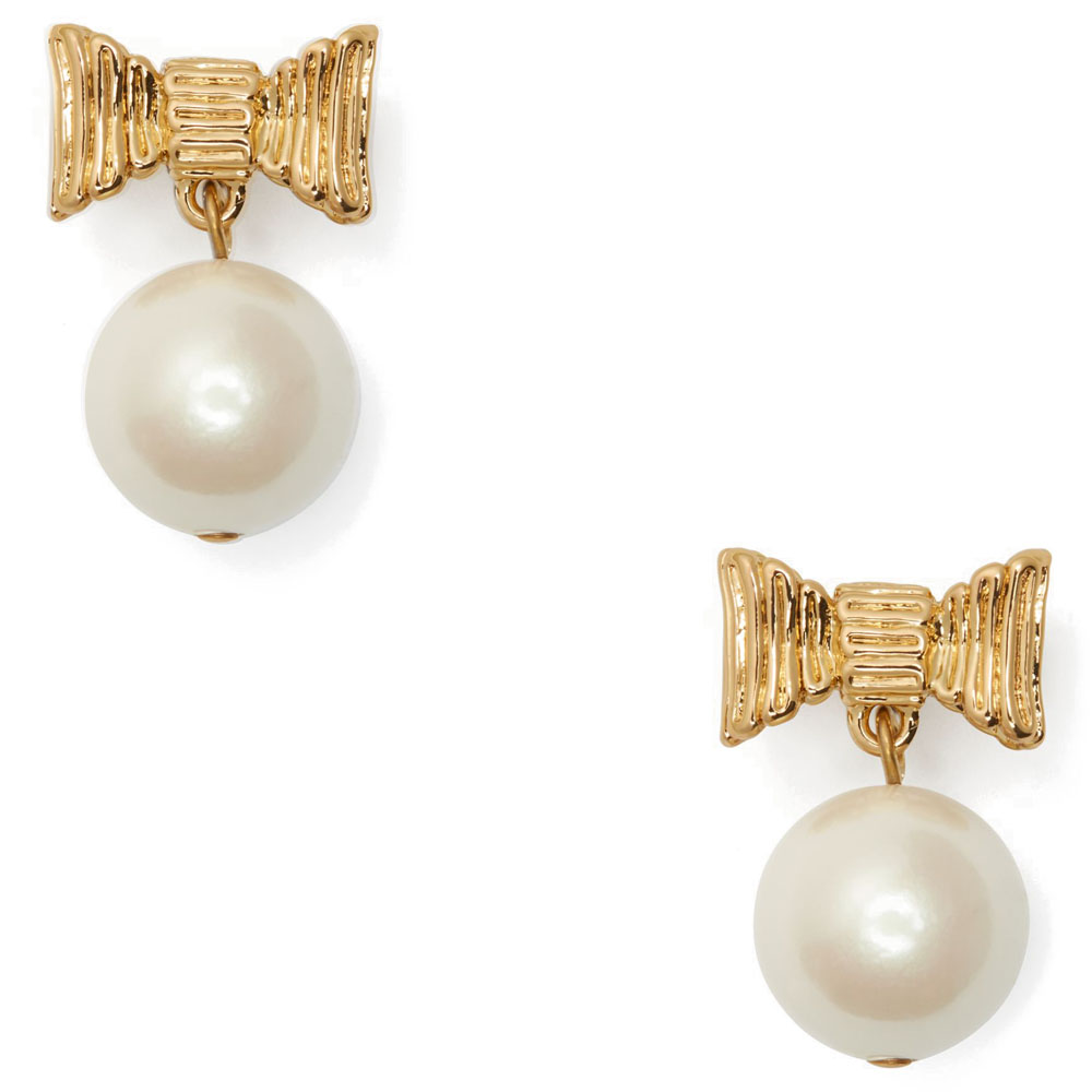 Kate Spade All Wrapped Up In Pearls Drop Earrings Cream / Gold # O0RU2699