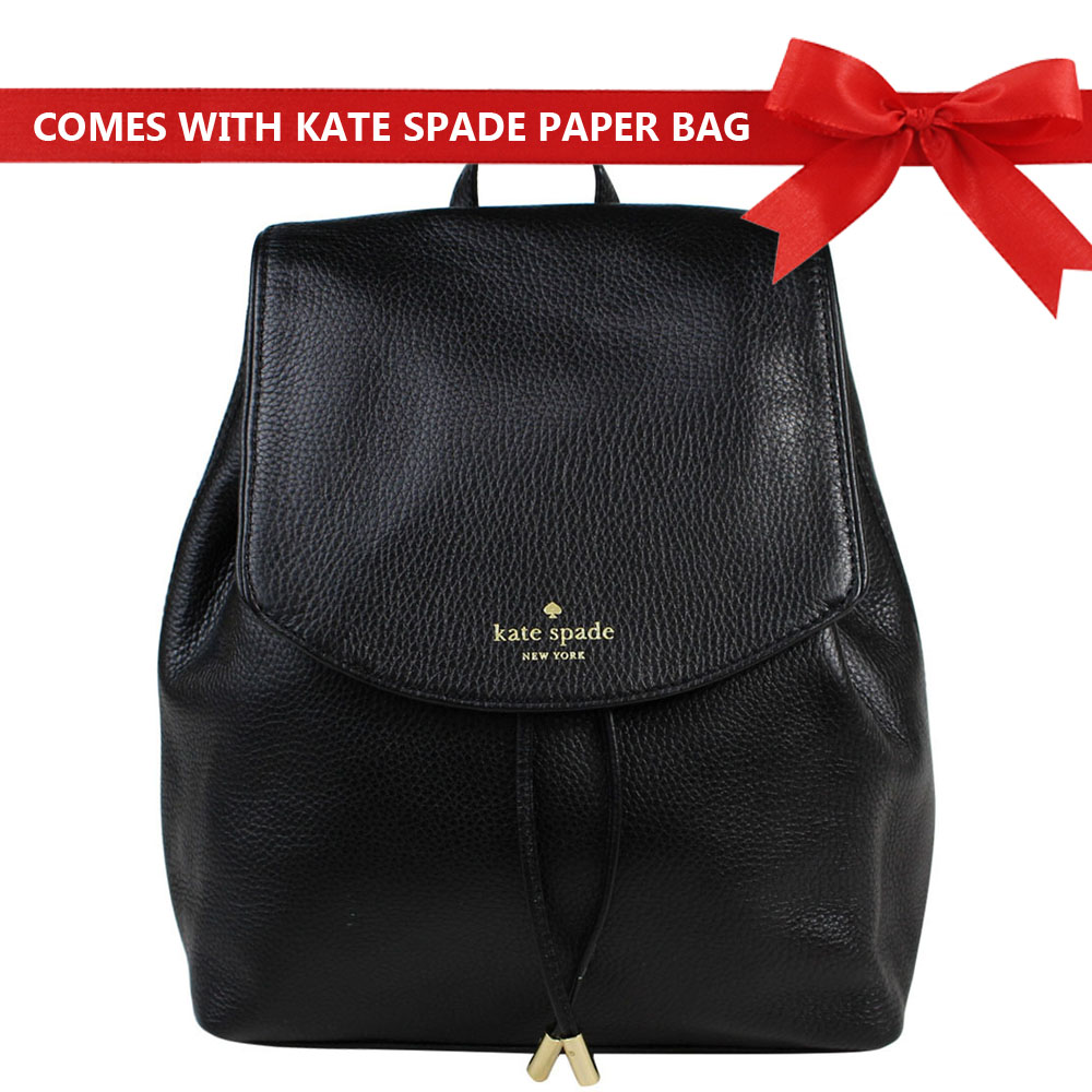 Kate Spade Backpack Mulberry Street Small Breezy Leather Backpack Black # WKRU3939