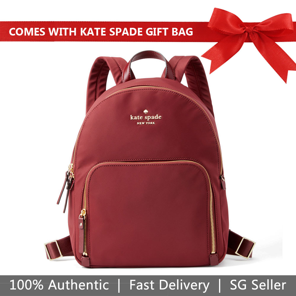 Kate Spade Backpack With Gift Bag Watson Lane Hartley Dark Currant Red # PXRU7646
