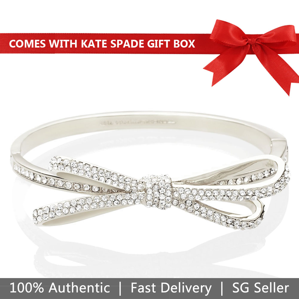 Kate Spade Bangle Bracelet In Gift Box Tied Up Pavenue Bow Hinge Bangle Bracelets Jewellery Silver # O0RU2707