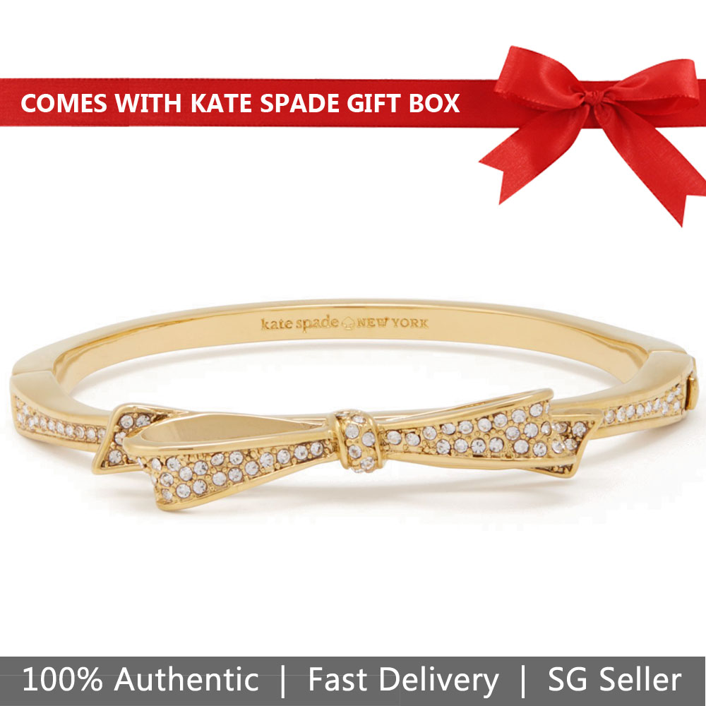 Kate Spade Bangle In Gift Box Love Notes Pave Hinged Gold Bracelet Gold # O0RU1148