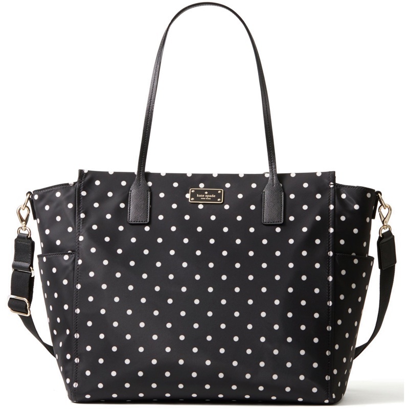 Kate Spade Blake Avenue Taden Baby Bag Black / Cream Diamond Dot # WKRU3524