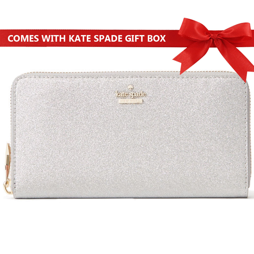 Kate Spade Burgess Court Lacey Continental Long Zip Around Wallet Silver # PWRU5932
