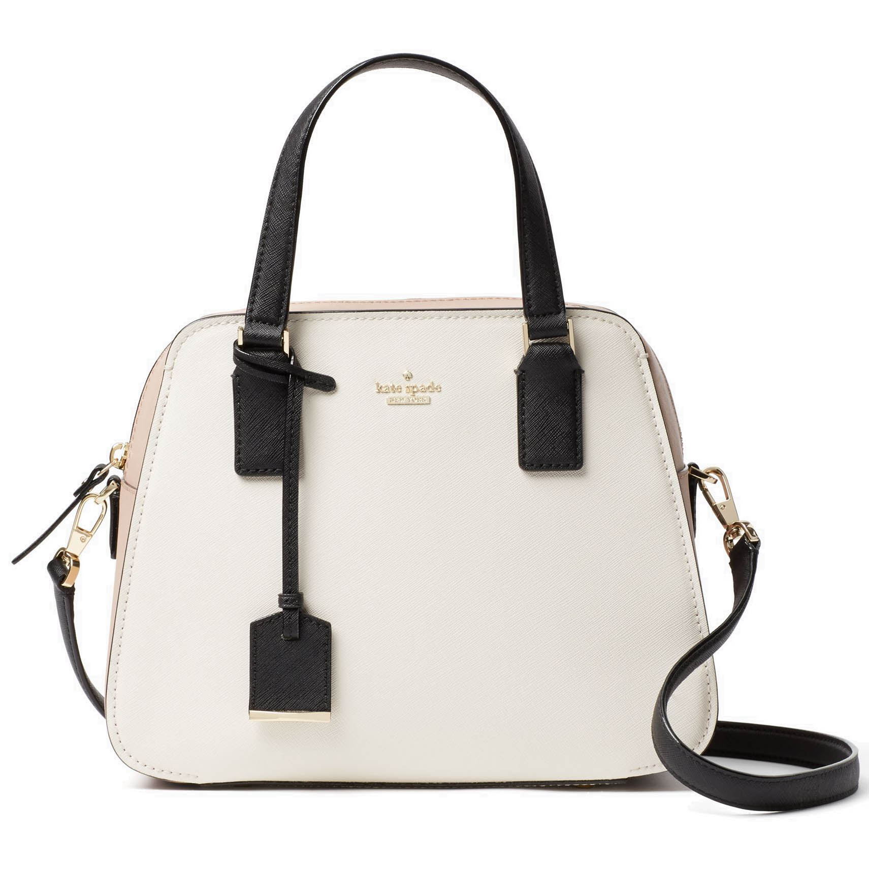 Kate Spade Cameron Street Little Babe Satchel Crossbody Bag Toasted Wheat Multi White Nude Black # PXRU7445