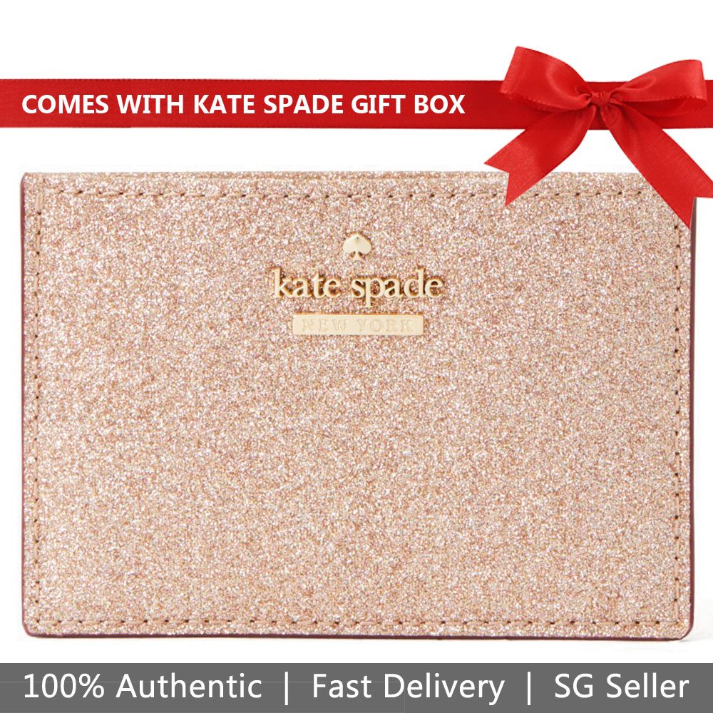 Kate Spade Card Case In Gift Box Burgess Court Card Holder Rose Gold # PWRU7081