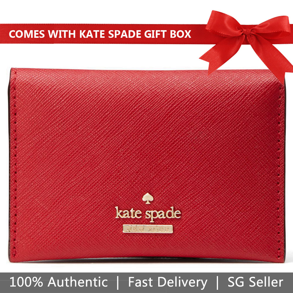 Kate Spade Card Case In Gift Box Small Wallet Card Holder Cameron Street Farren Heirloom Red # PWRU6046