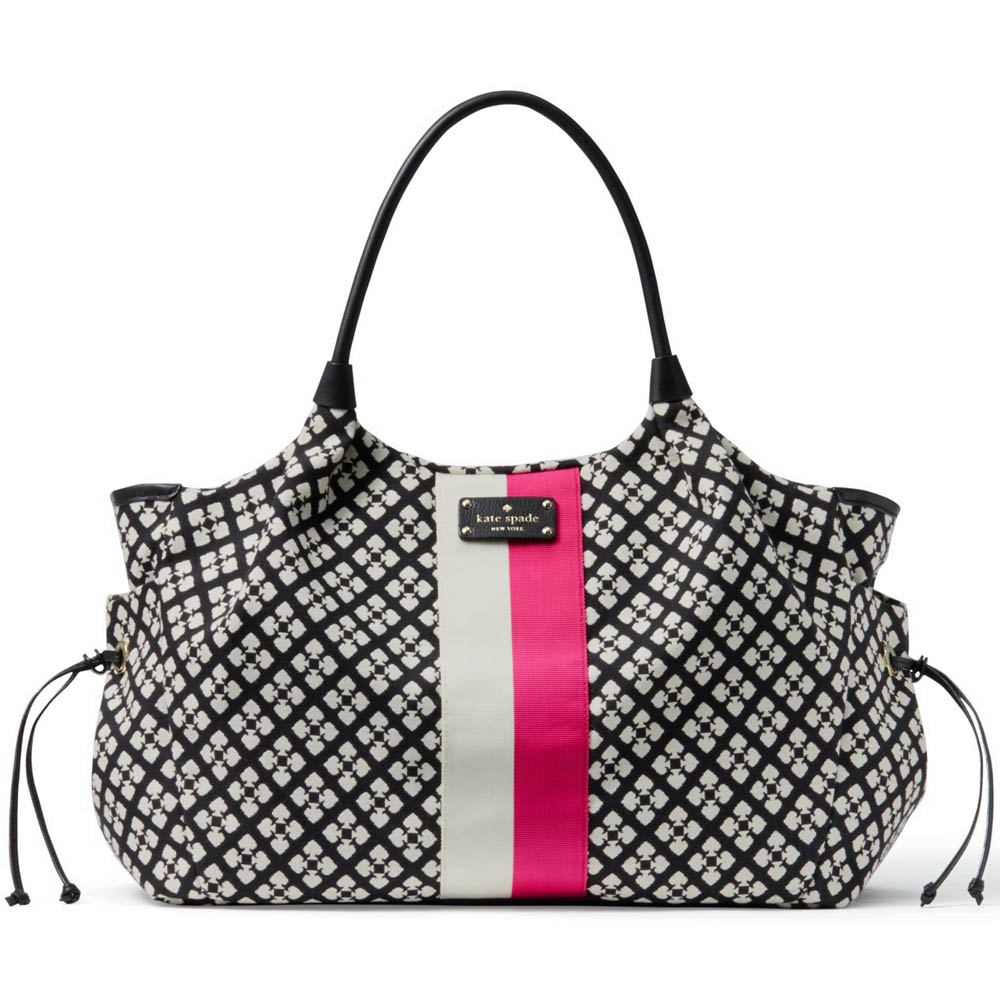 Kate Spade Classic Spade Baby Stevie Black & Cream With Pink Stripe # WKRU1523